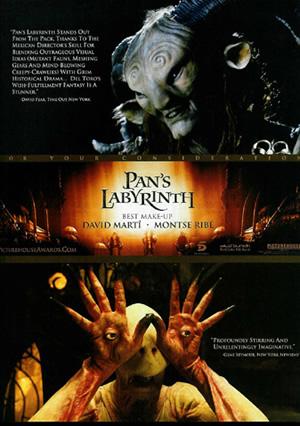 Cartel promocional de El Laberinto del Fauno para su candidatura al mejor maquillaje